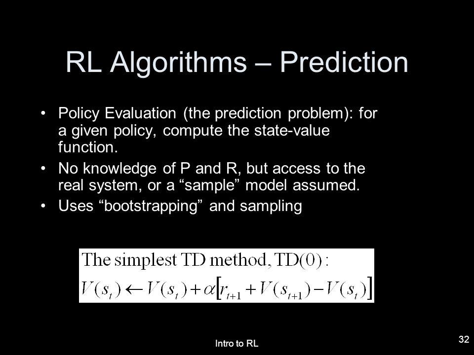 RL Algorithms – Prediction