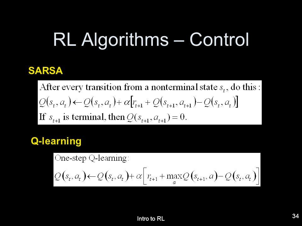 RL Algorithms – Control