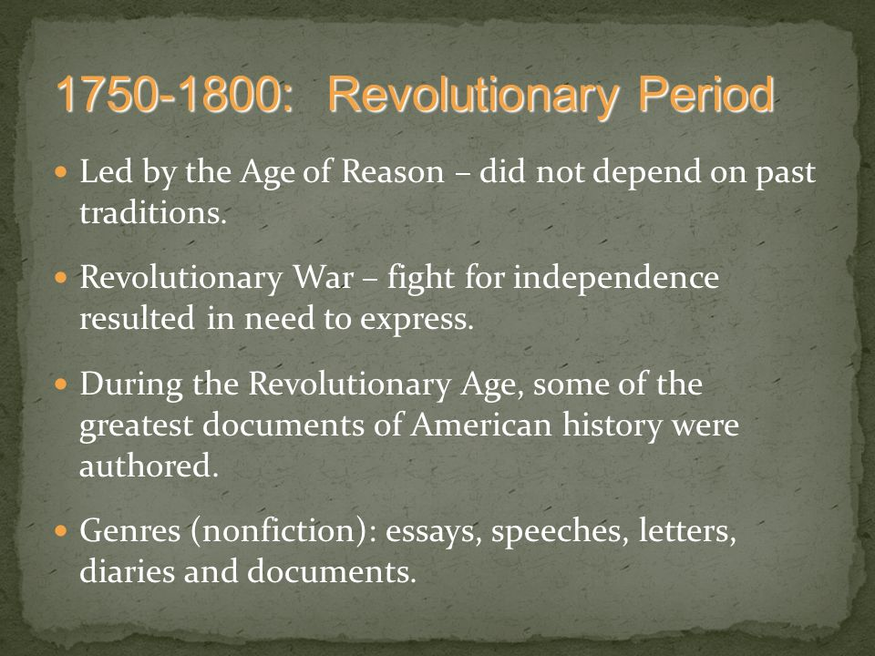 revolutionary period Beginning with an extensive overview essay of the period, this book focuses on 26 pressing issues of the war and the early republic  the revolutionary era:.