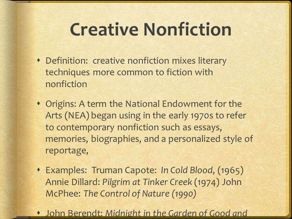 non fiction essay definition In our january 2018 craft section, chelsey drysdale examines how a writer transforms an essay collection into a memoir brevity podcast episode #9.