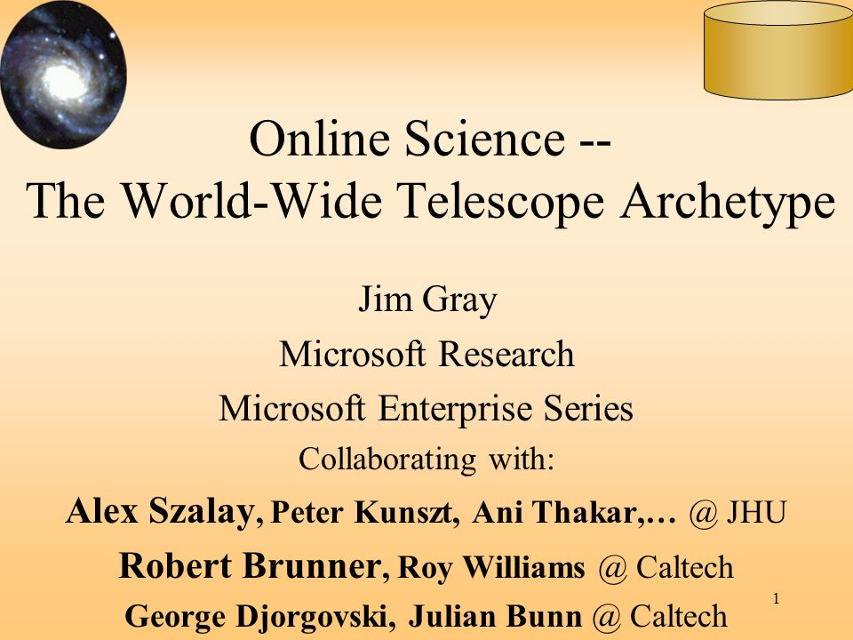 Online Science -- The World-Wide Telescope Archetype