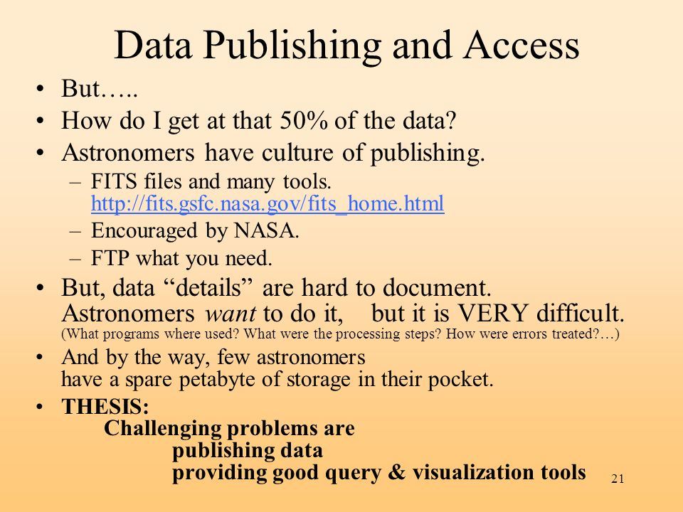 Data Publishing and Access