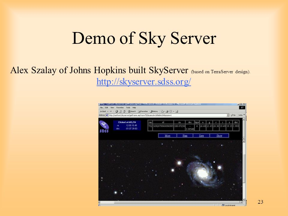 Demo of Sky Server Alex Szalay of Johns Hopkins built SkyServer (based on TerraServer design).