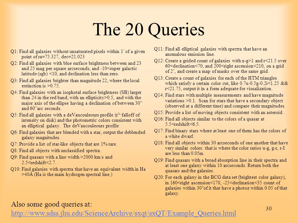 The 20 Queries Q11: Find all elliptical galaxies with spectra that have an anomalous emission line.