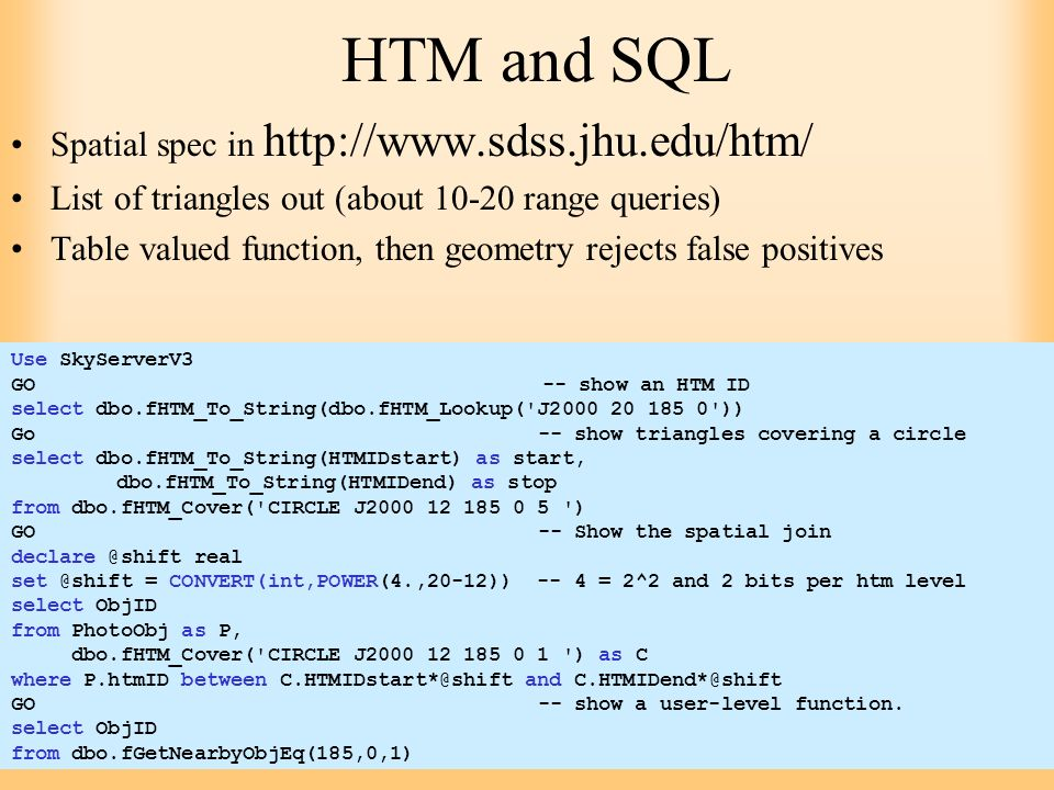 HTM and SQL Spatial spec in http://www.sdss.jhu.edu/htm/