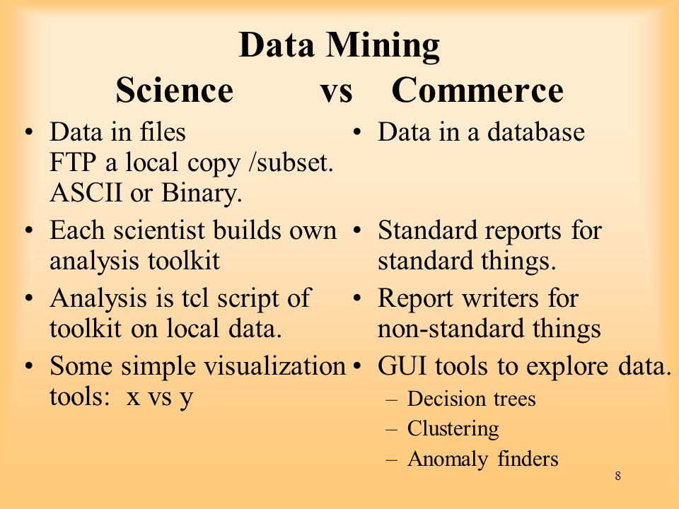 Data Mining Science vs Commerce