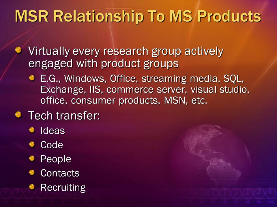 MSR Relationship To MS Products