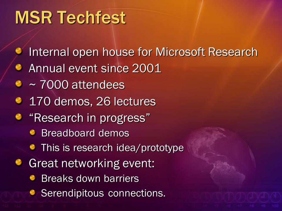 MSR Techfest Internal open house for Microsoft Research