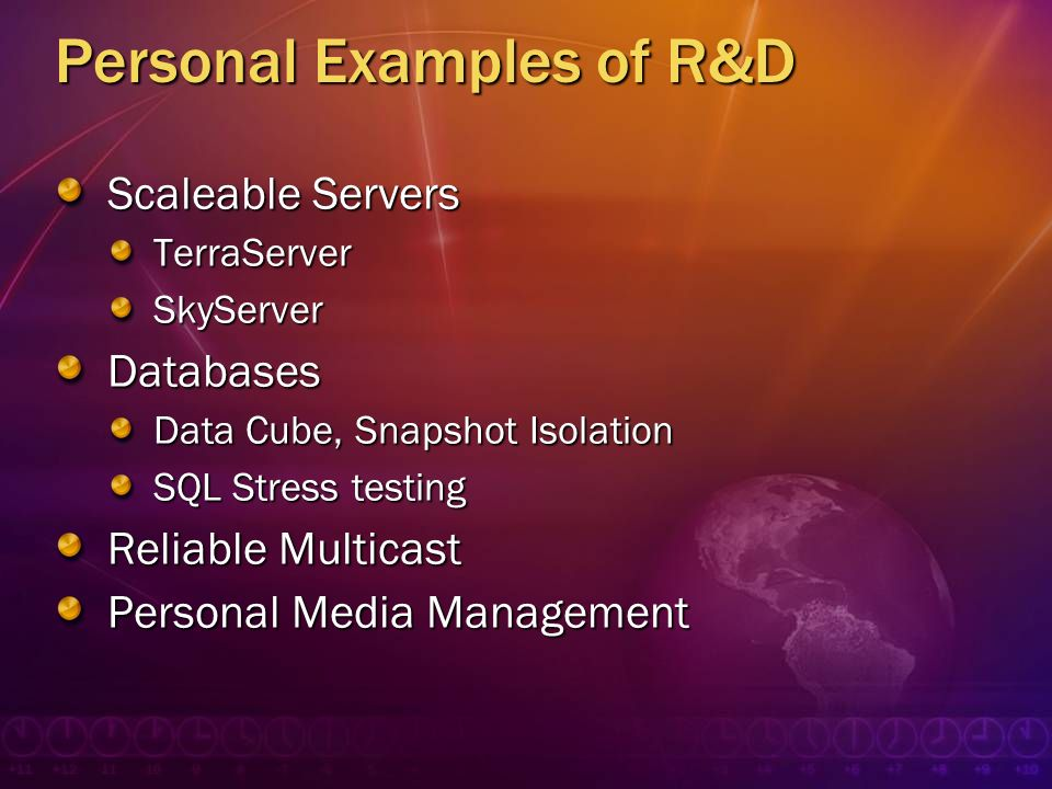 Personal Examples of R&D