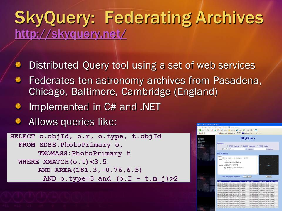 SkyQuery: Federating Archives http://skyquery.net/