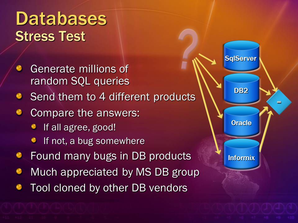 Databases Stress Test Generate millions of random SQL queries