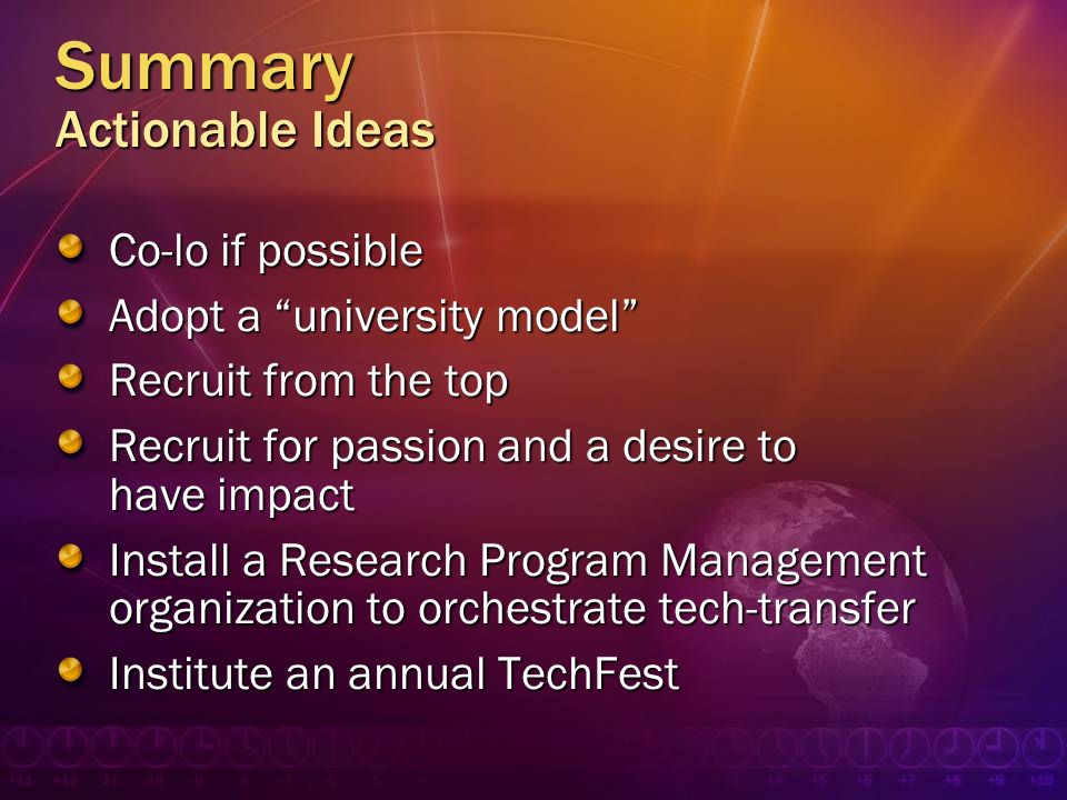 Summary Actionable Ideas