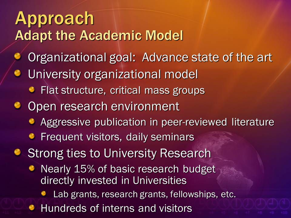 Approach Adapt the Academic Model