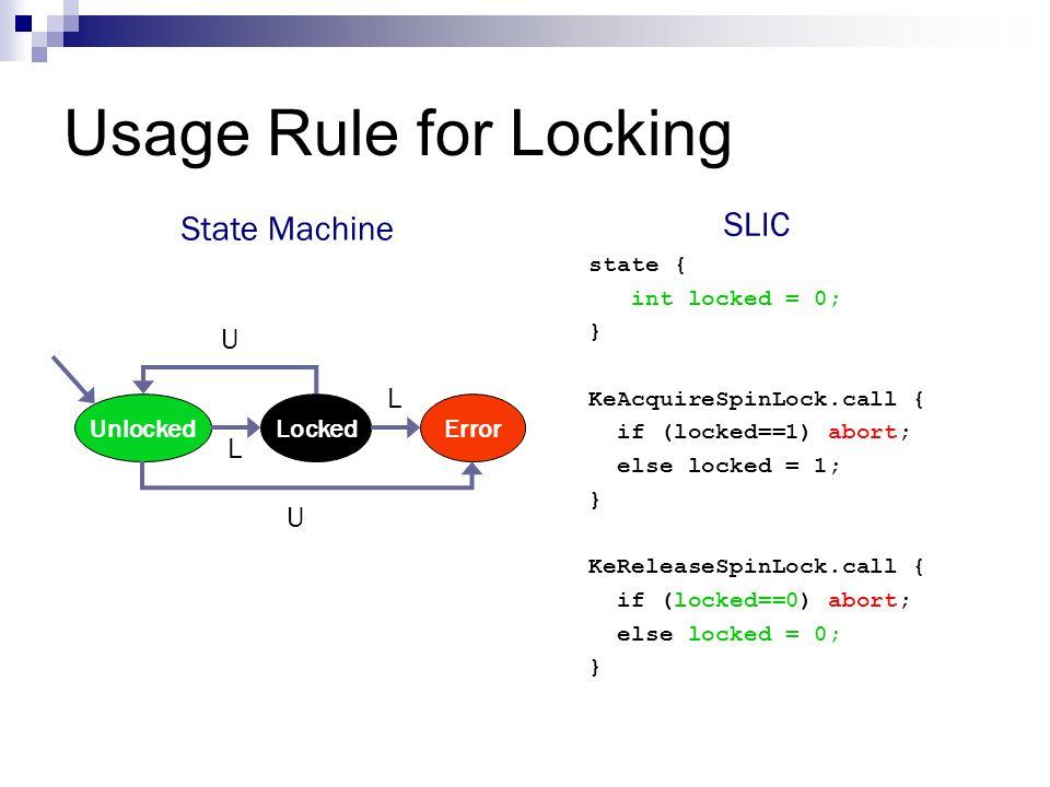 Usage Rule for Locking SLIC State Machine U L L U Unlocked Locked