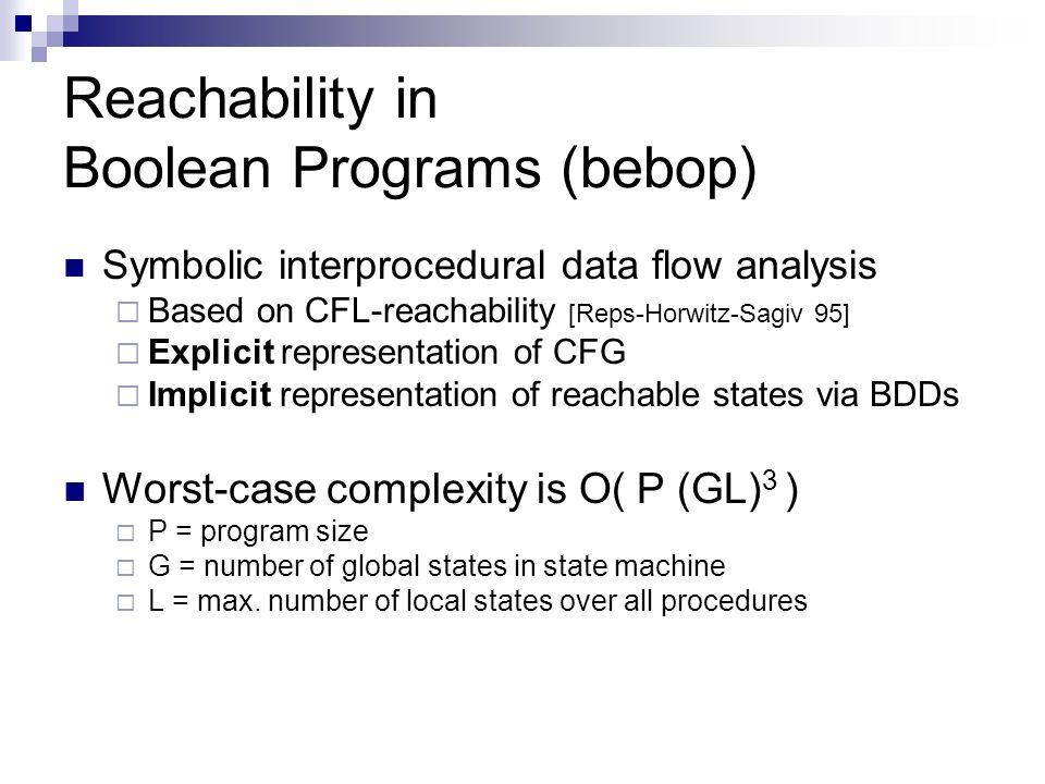 Reachability in Boolean Programs (bebop)