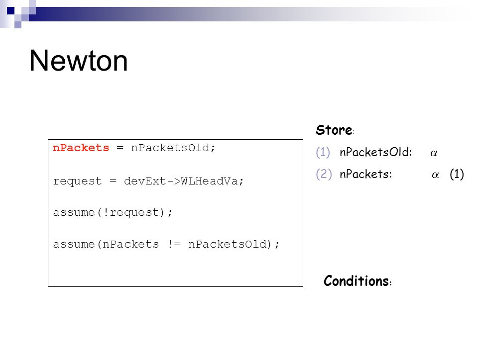 Newton Store: Conditions: nPacketsOld:  nPackets = nPacketsOld;