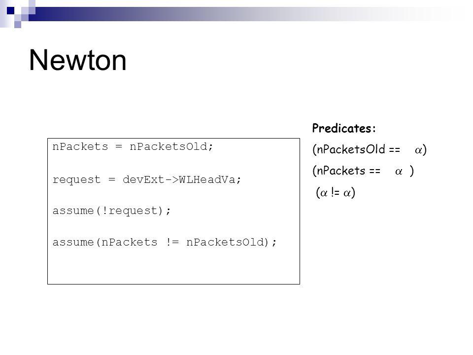 Newton Predicates: (nPacketsOld == ) (nPackets ==  )