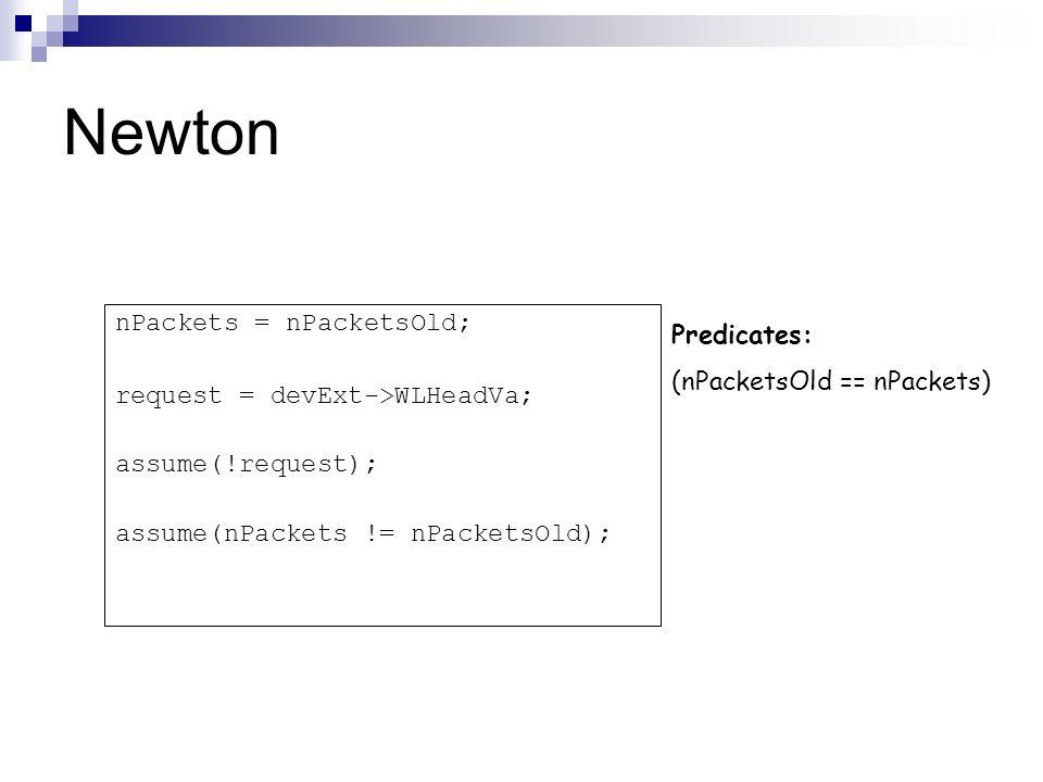 Newton nPackets = nPacketsOld; Predicates: (nPacketsOld == nPackets)
