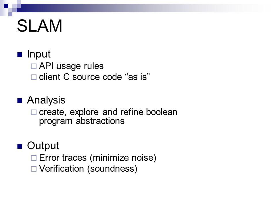 SLAM Input Analysis Output API usage rules