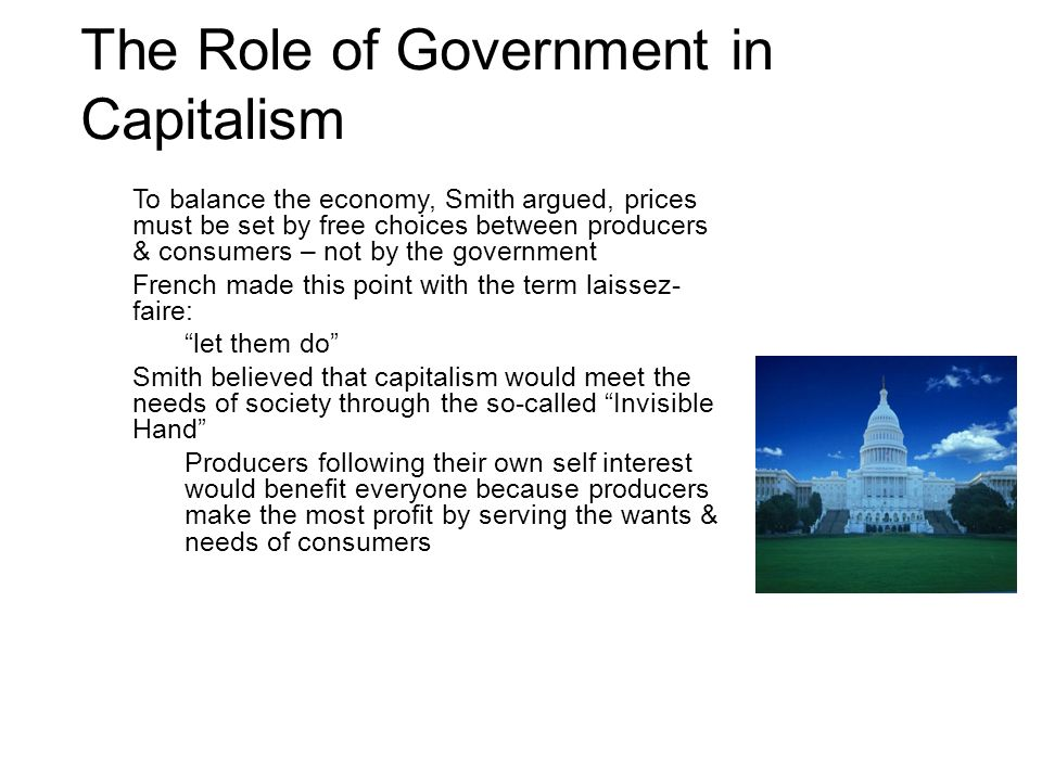 role of government in capitalism Start studying chapter 1 capitalism and the role of government learn vocabulary, terms, and more with flashcards, games, and other study tools.