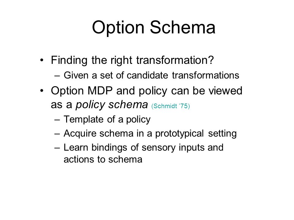 Option Schema Finding the right transformation