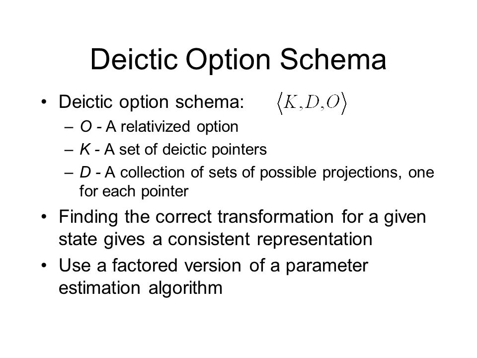 Deictic Option Schema Deictic option schema: