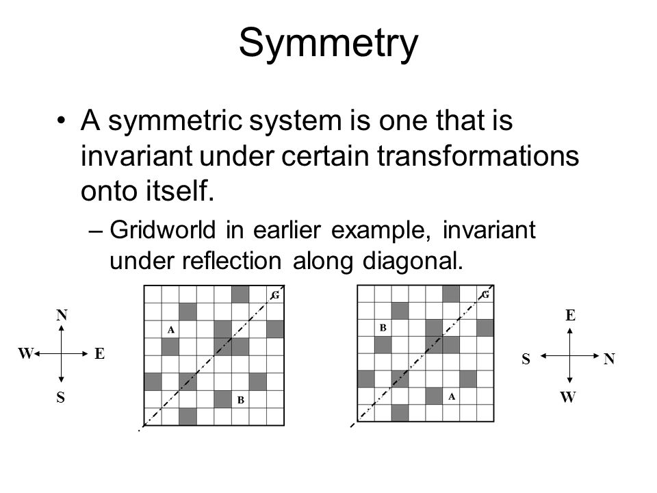 Symmetry A symmetric system is one that is invariant under certain transformations onto itself.