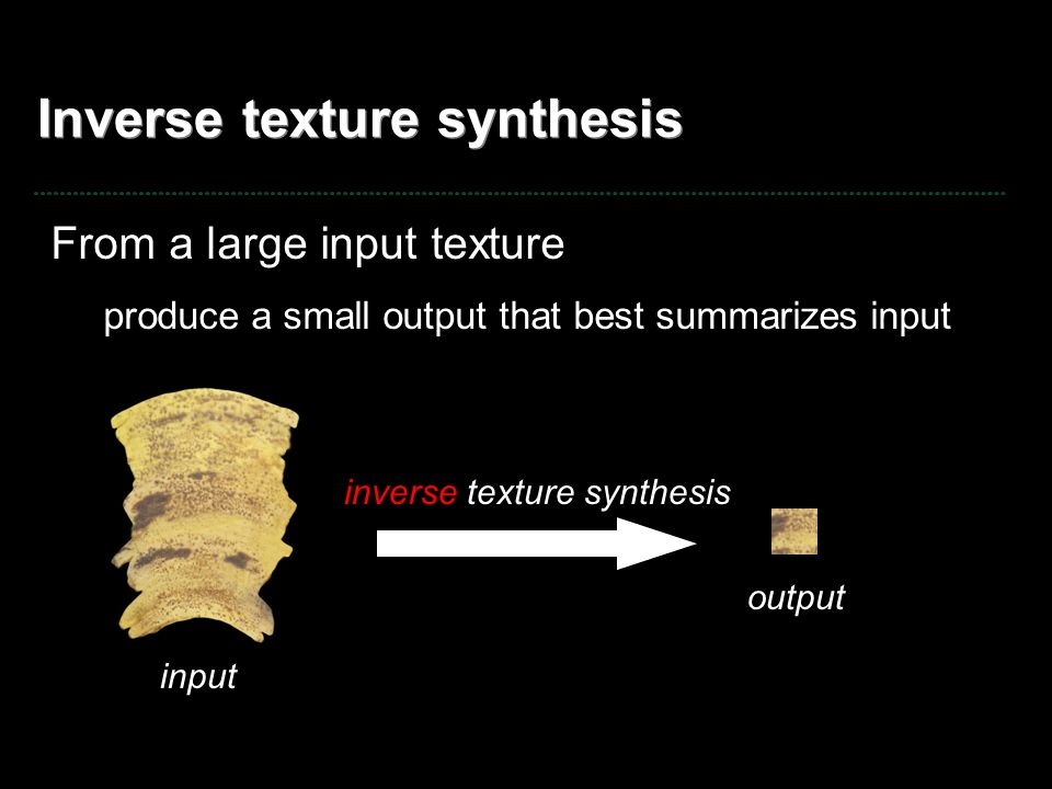 Inverse texture synthesis