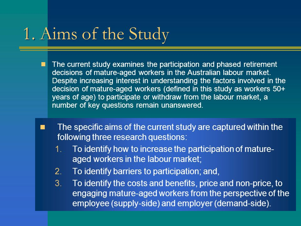 1. Aims of the Study