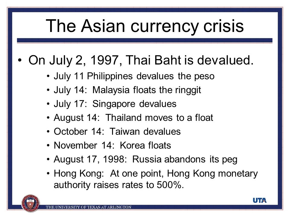 currency and thai baht essay The asian financial crisis essay the asian financial crisis essay 1676 words 7 pages  just like many other currencies, the value of thai currency (the baht) had .