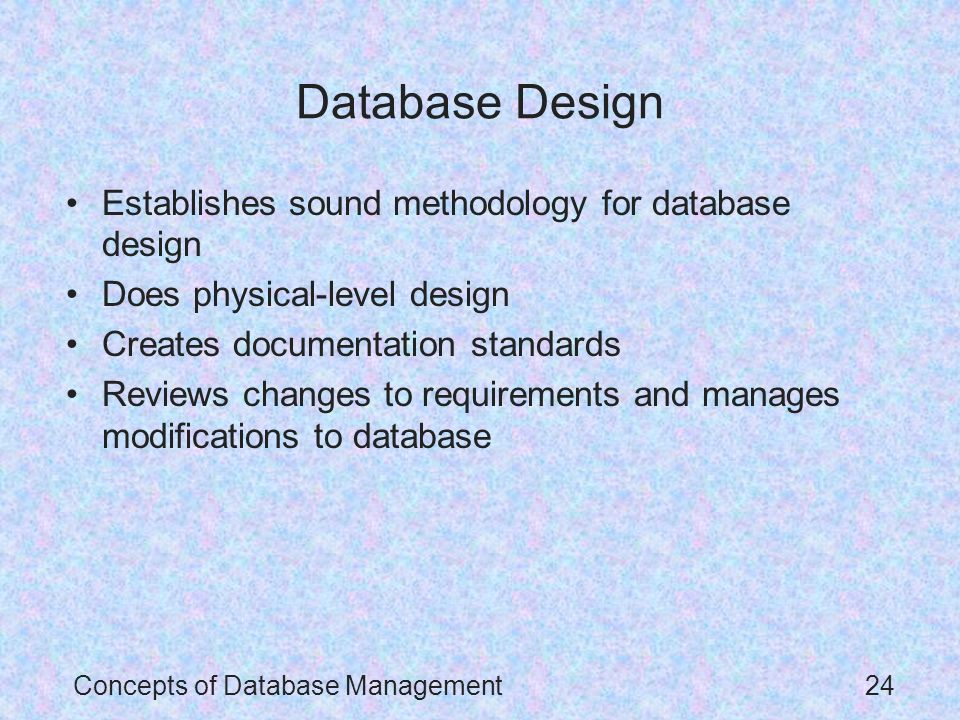 questions on database concepts and standards The goals of this article are to overview fundamental data modeling skills concepts in data modeling database naming standards.