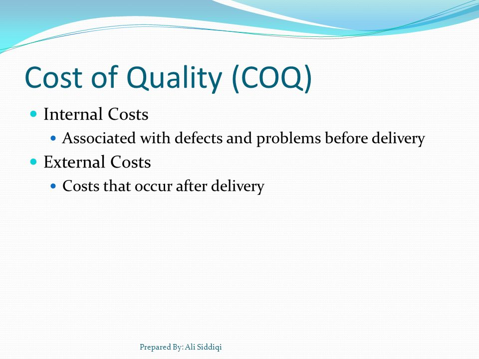 Cost of Quality (COQ) Internal Costs External Costs