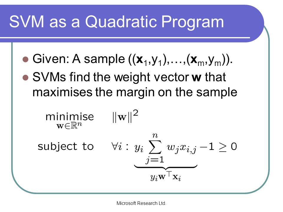 SVM as a Quadratic Program