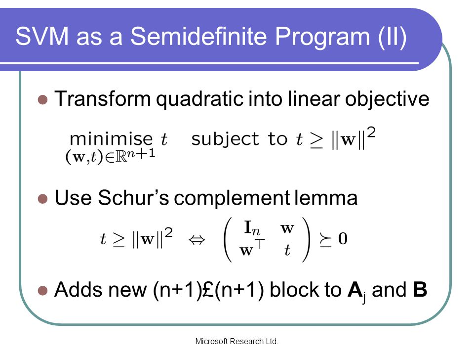 SVM as a Semidefinite Program (II)