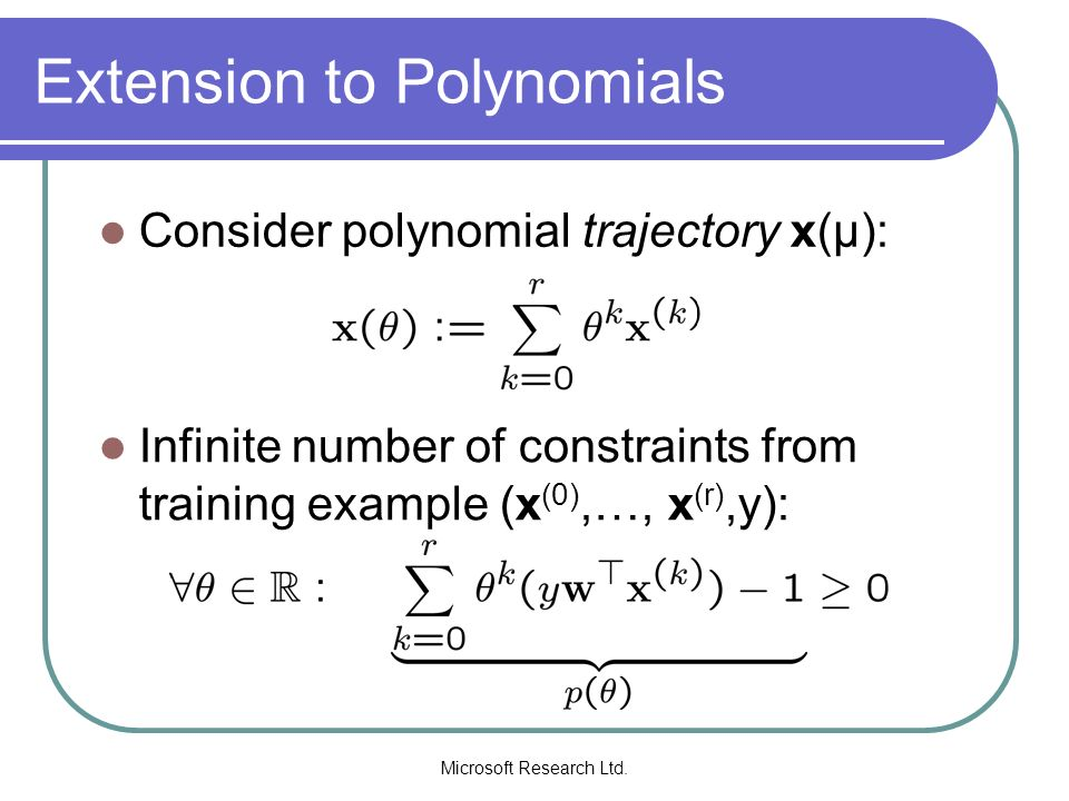 Extension to Polynomials