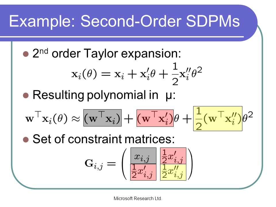 Example: Second-Order SDPMs