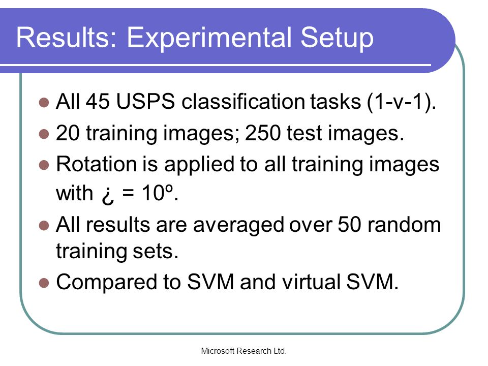 Results: Experimental Setup