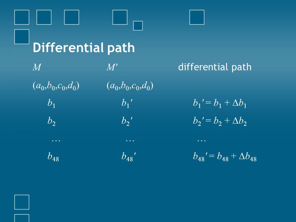 Differential path M (a0,b0,c0,d0) b1 b2 … b48 M (a0,b0,c0,d0) b1 b2