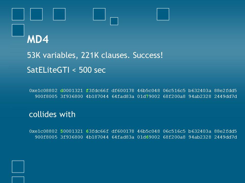 MD4 53K variables, 221K clauses. Success! SatELiteGTI < 500 sec