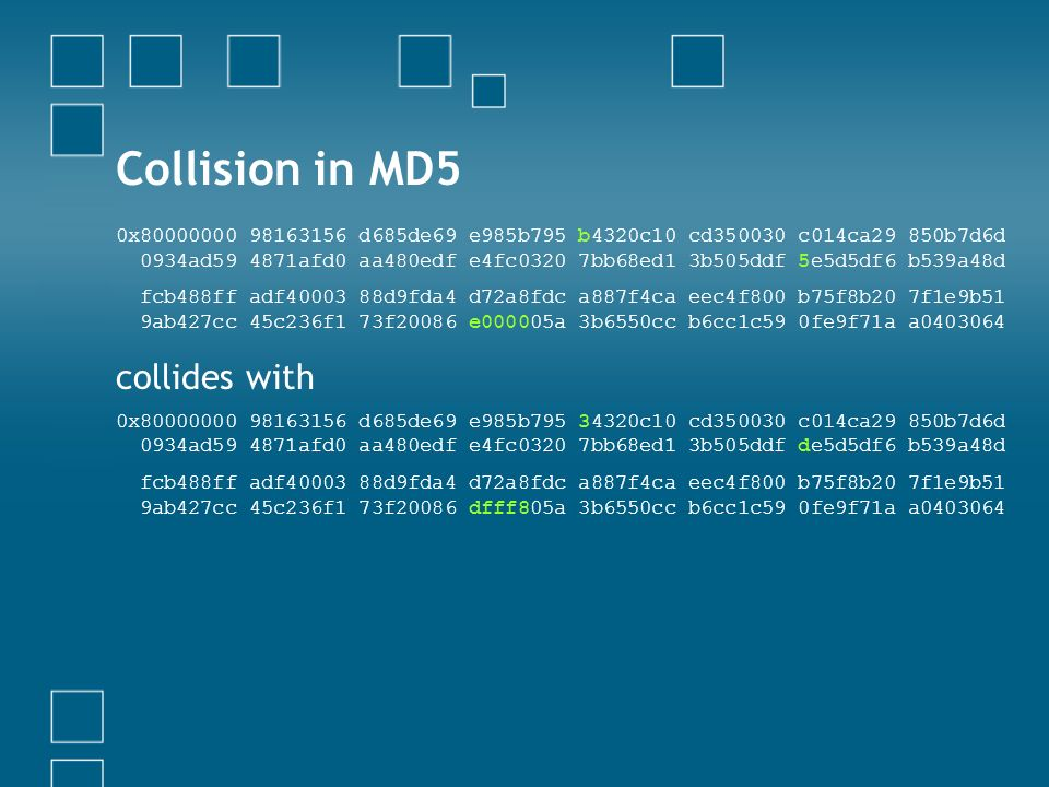 Collision in MD5 collides with
