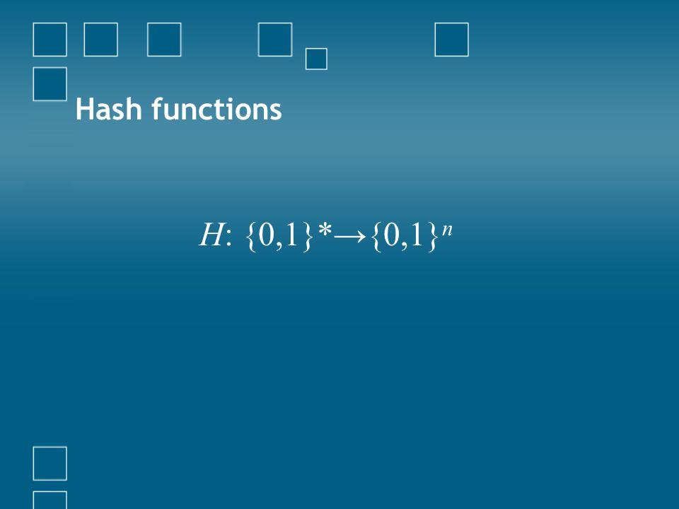 Hash functions H: {0,1}*→{0,1}n