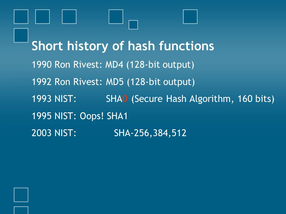 Short history of hash functions
