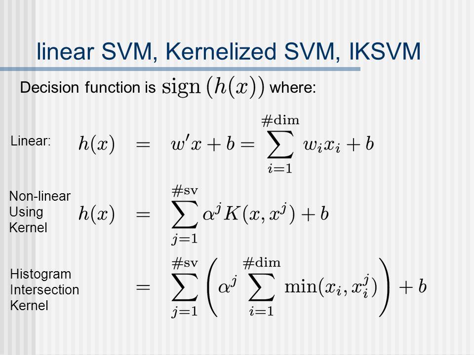 linear SVM, Kernelized SVM, IKSVM