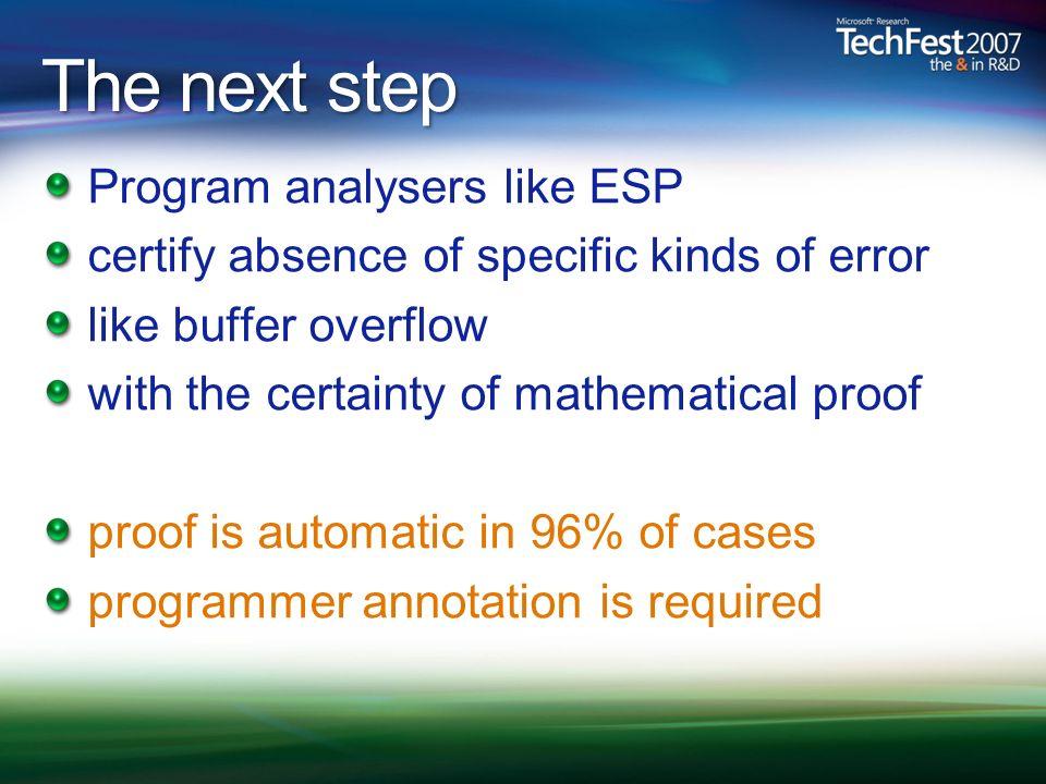 The next step Program analysers like ESP