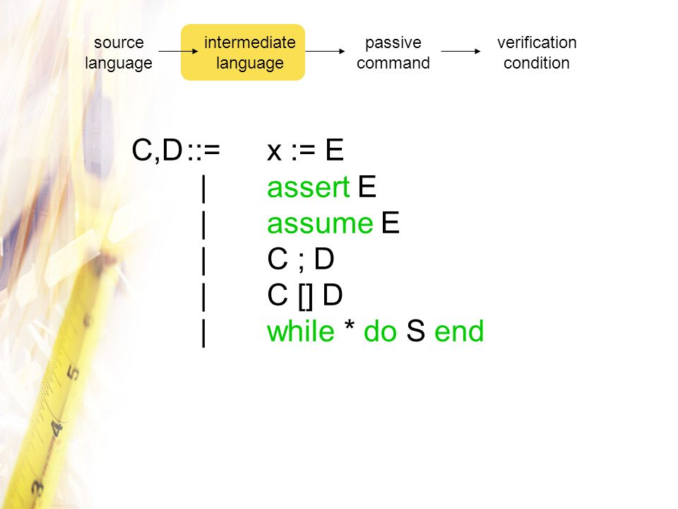 source language intermediate language. passive command. verification condition.