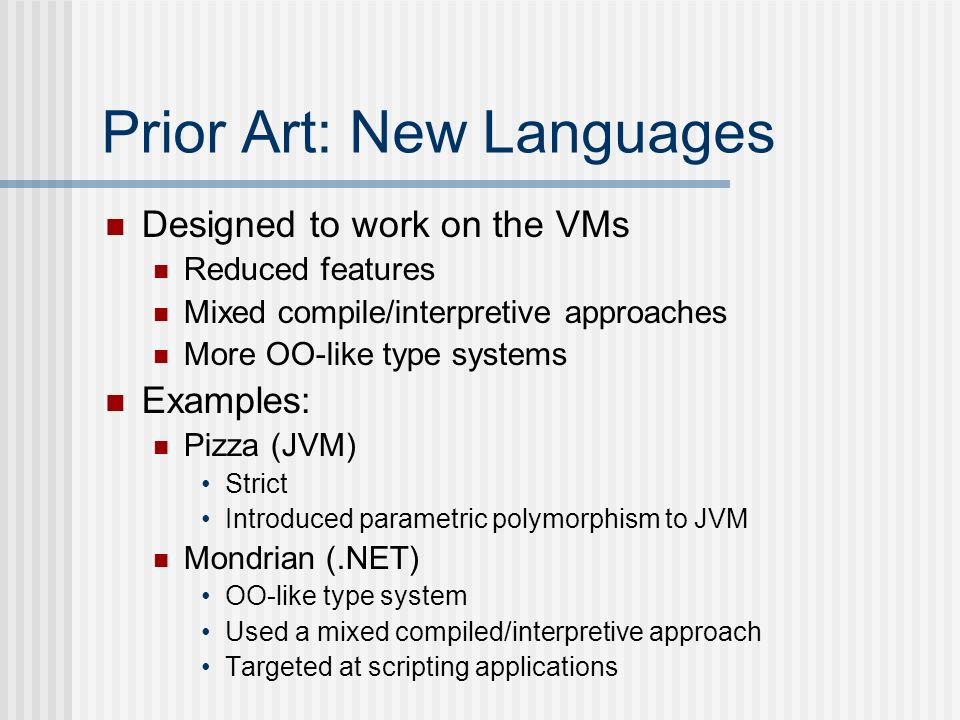 Prior Art: New Languages