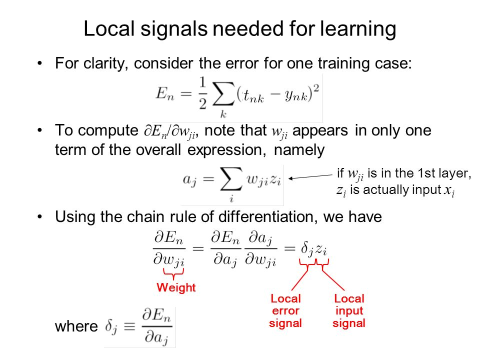 Local signals needed for learning