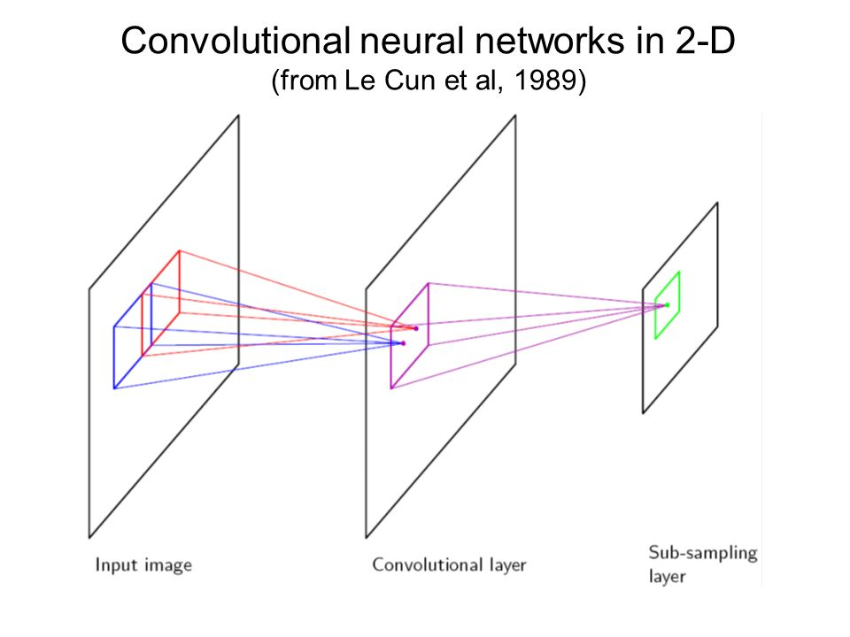 Convolutional neural networks in 2-D (from Le Cun et al, 1989)