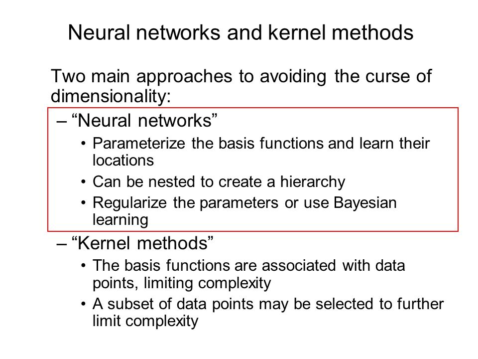 Neural networks and kernel methods