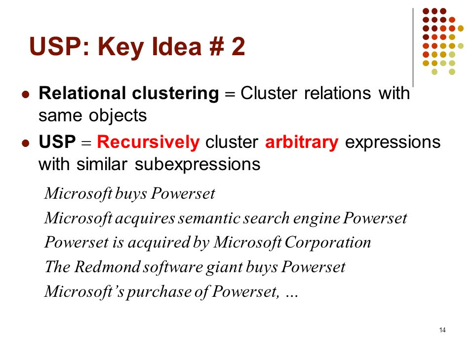 USP: Key Idea # 2 Relational clustering  Cluster relations with same objects.